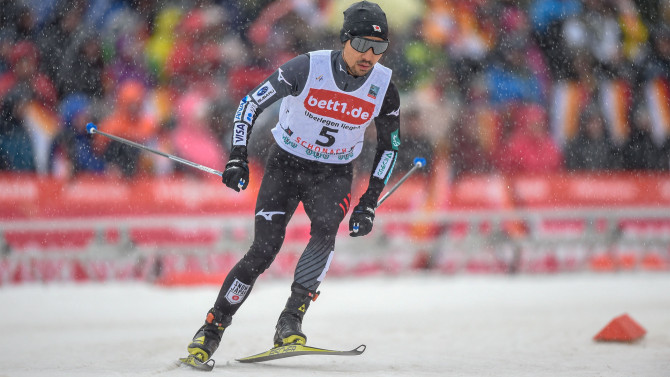 Norway's nordic combined team celebrate superior victory