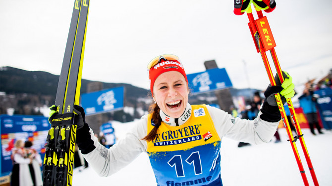 Klæbo wins 15 km mass start in 100th Tour de Ski stage
